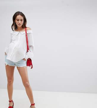 Asos Design Maternity Denim Alvey Mid Rise Short With Raw Hem In Light Wash Blue