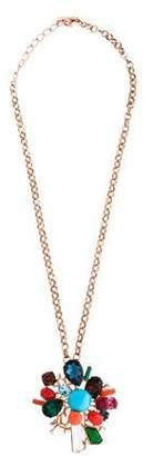 Oscar de la Renta Crystal Branch Convertible Brooch Pendant Necklace