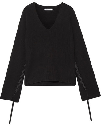 Helmut Lang - Ribbon-detailed Wool And Cashmere-blend Sweater - Black $395 thestylecure.com