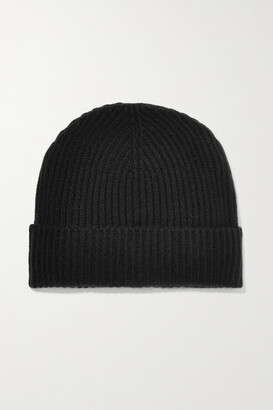 Johnstons of Elgin Ribbed Cashmere Beanie - Black