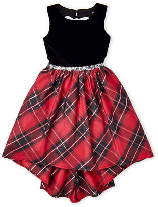 Velvet Heart Zunie (Girls 7-16 Cut Out Plaid Print Dress