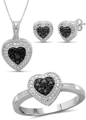 Black Diamond Jewelersclub JewelersClub Accent Sterling Silver 3-Piece Heart Jewelry Set