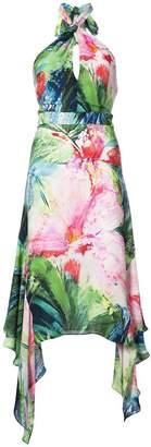 Josie Natori Sunset Palms halter dress