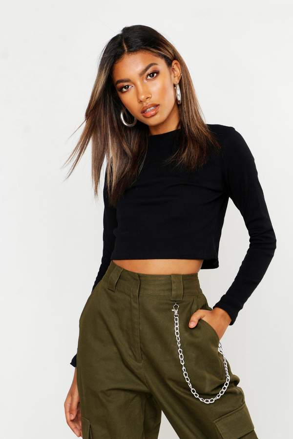 boohoo Lucy Ribbed High Neck Long Sleeve Crop Top