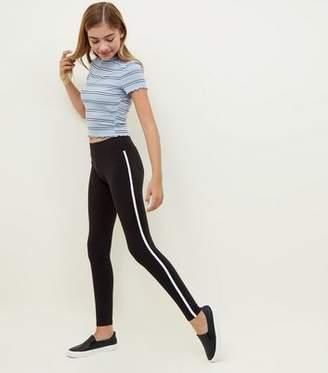 New Look Girls Black Side Stripe Leggings