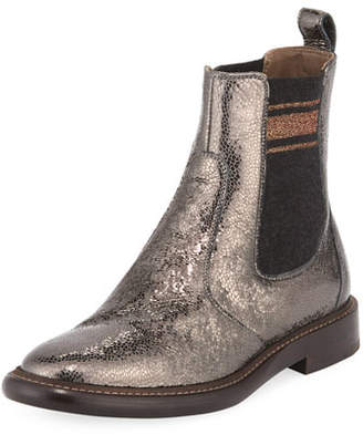 Brunello Cucinelli Metallic Leather Chelsea Booties
