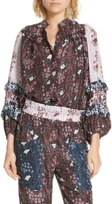 Apiece Apart Bravissima Ruffle Sleeve Silk Blouse