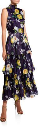 Flor et.al Neon Floral High-Neck Sleeveless Tiered Liquid Organza Dress