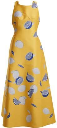 Vika Gazinskaya Lemon-jacquard cotton-blend dress