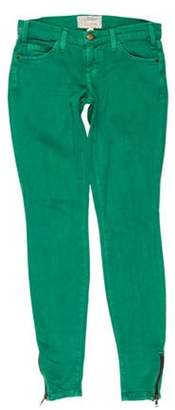 Current/Elliott Low-Rise Skinny Jeans Green Low-Rise Skinny Jeans