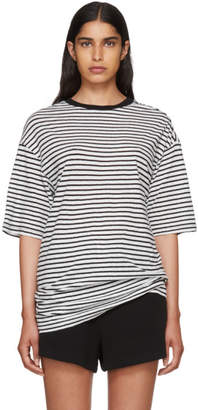 R 13 Black and White Striped Oversized Boyfriend T-Shirt