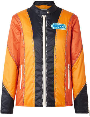 Gucci Embellished Paneled Shell Bomber Jacket - Orange
