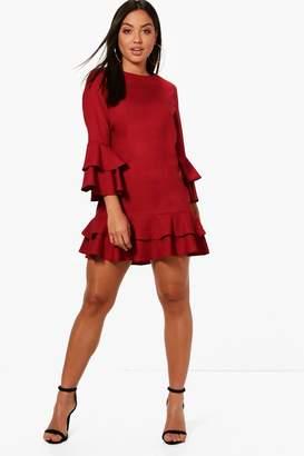 boohoo Ruffle Tiered Shift Dress