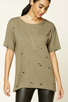FOREVER 21+ Distressed Raw-Cut Longline Tee $14.90 thestylecure.com