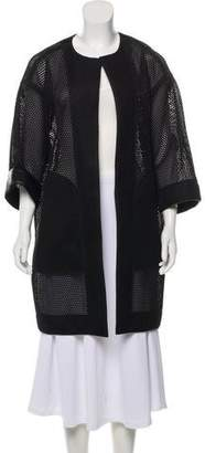 Reed Krakoff Leather-Trimmed Mesh Coat