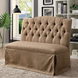 Furniture of America Dehlia Brown Tufted Love Seat Bench