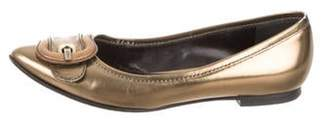 Fendi Buckle-Accented Pointed-Toe Flats Gold Buckle-Accented Pointed-Toe Flats