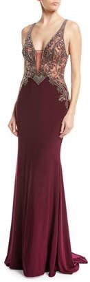 Faviana Jersey V-Neck Gown w/ Beaded Bodice
