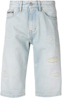 Calvin Klein Jeans distressed knee length shorts