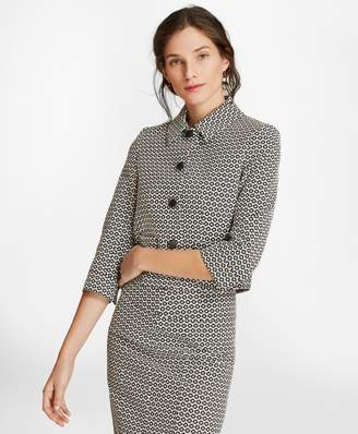 Brooks Brothers Floral Stretch Cotton Jacquard Cropped Jacket