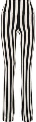Norma Kamali Striped Stretch-jersey Bootcut Pants - Black