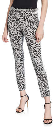Black Orchid Robin Leopard High-Rise Frayed Skinny Jeans