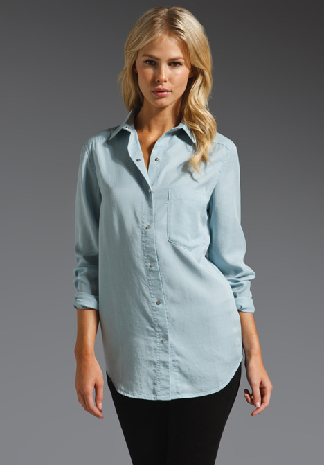 T by Alexander Wang Washed Tencel Chambray Shirt