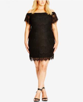 City Chic Trendy Plus Size Off Shoulder Lace Dress