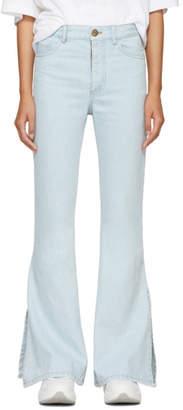 Matthew Adams Dolan SSENSE Exclusive Indigo Split Hem Flare Jeans