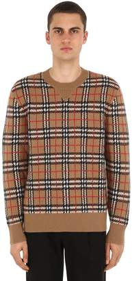 Burberry Checked Cashmere Knit Sweater