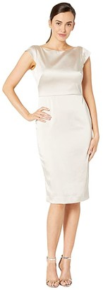 Maggy London Stretch Satin Sheath Dress with Bow Back Detail