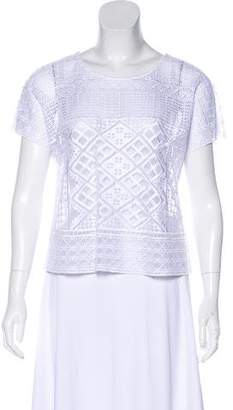 Temperley London Embroidered Short Sleeve Top