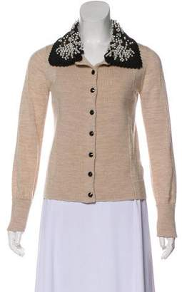 Tory Burch Embellished Wool Cardigan