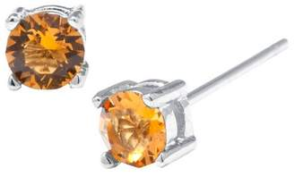 Silver Plated Brass Yellow Stud Earrings with Crystals from Swarovski (4mm)