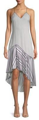 Jonathan Simkhai Multimedia Linear Printed Hi-Lo Silk Dress