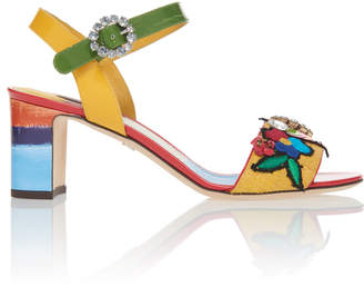 Dolce & Gabbana Embellished Canvas and Patent-Leather Sandals