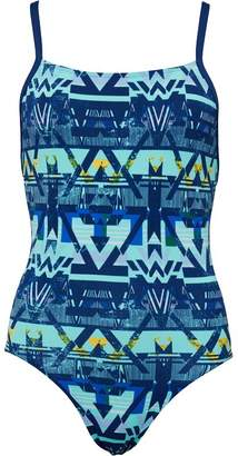 adidas Womens Infinitex+ Thin Straps One Piece Swimsuit Mystery Blue/Easy Green