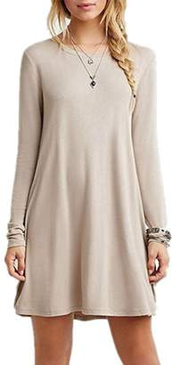 Bestisun Women's Flowy Plain Sleeve Loose Casual Spring Dress Long Sleeve Round Neckline Knee Length Swing Spring Dress M