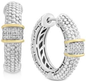 Effy Balissima by Diamond Cluster Beaded Hoop Earrings (1/8 ct. t.w.)in Sterling Silver & 18k Gold
