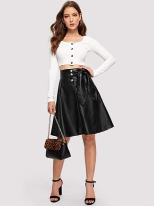 Shein Bow Detail Button Front PU Skirt