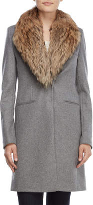 SAM. Real Fur Collar Crosby Wool Coat