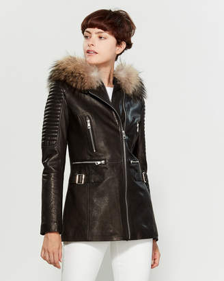 Intuition Paris Real Fur-Trimmed Full-Zip Leather Coat