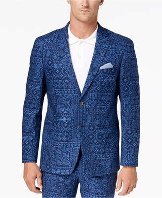Tallia Orange Men's Modern-Fit Navy Bandana-Print Suit Jacket