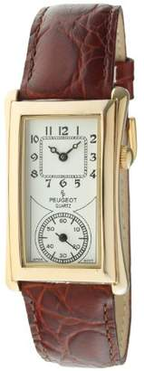 Peugeot Vintage Unisex 14K Plated Contoured Dial Brown Leather Band Doctors Nurse Watch 2038G