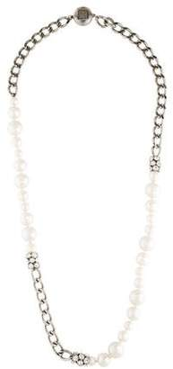 Givenchy Faux Pearl & Crystal Chain Necklace