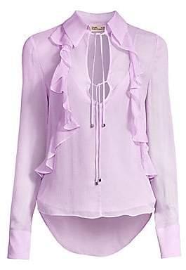 Diane von Furstenberg Women's Everleigh Ruffled Silk Blouse