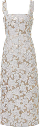 Lela Rose Floral Metallic Jacquard Midi Dress