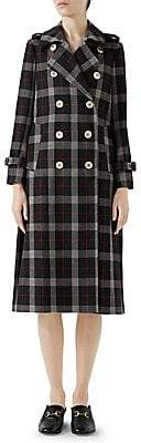 Gucci Women's Wool Check Windowpane Pleated Coat