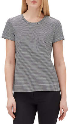 Lafayette 148 New York Modern Striped Short-Sleeve Jersey Cotton Tee
