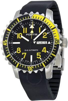 Fortis Marinemaster Black Dial Black Rubber Men's Watch 6702414K